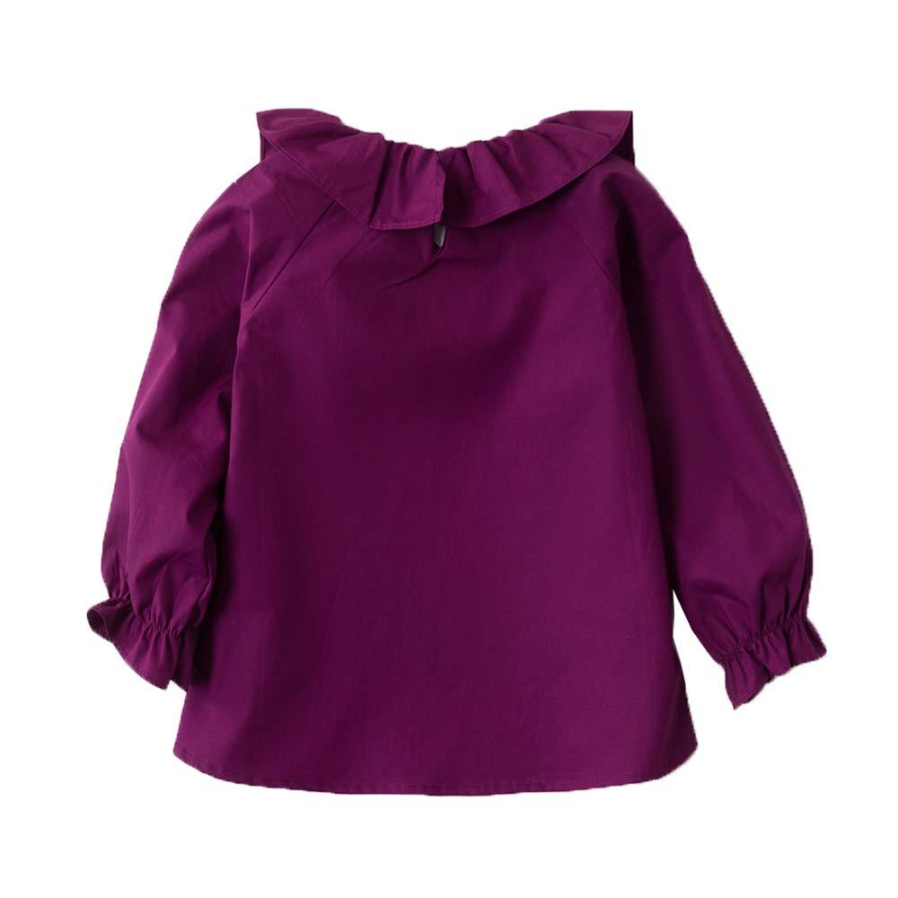 Little Girls Blouse Cotton Long Sleeve Tee Shirts Lotus Leaf Collar 2-7 Year