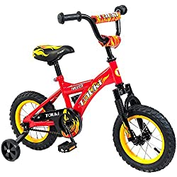 Tauki 12 Inch Kid Bike BMX Freestyle for Boys and Girls, Red, 95% assembled, for 2-5 Years Old