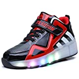 Ufatansy Uforme Kids Boys Girls High-Top Shoes LED Light Up Sneakers Single Wheel Double Wheel Roller Skate Shoes(6.5 M US=CN40, Black/Red-Single Wheel)