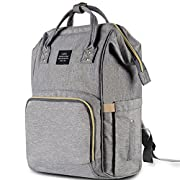 HaloVa Diaper Bag Multi-Function Waterproof Travel Backpack Nappy Bags for Baby Care, Large Capacity, Stylish and Durable, Linen
