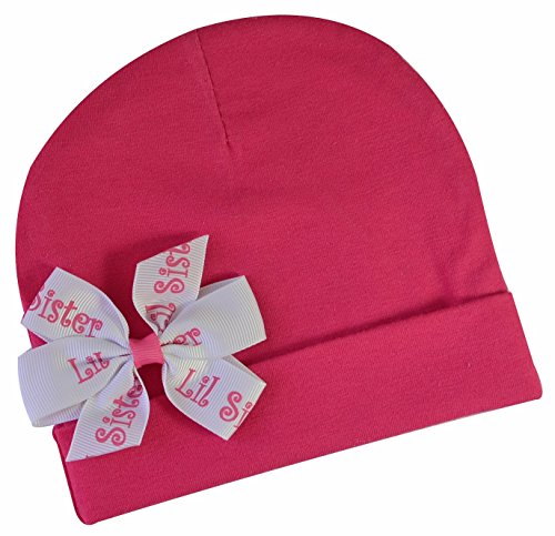 ster Hair Bow Headband Baby Hat OR Bow : YOU CHOOSE ONE ACCESSORY (Lil Sister Cotton Hat) ()