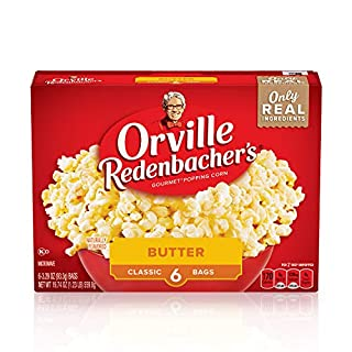 Orville Redenbacher's Butter Popcorn, 3.29 Ounce Classic Bag, Gluten Free, 36 bags (6-Count, Pack of 6)