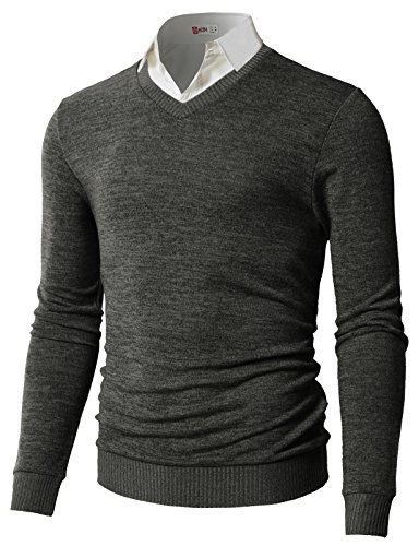 H2H Men's V-Neck Merino Wool Sweater Charcoal US XL/Asia 2XL (CMOSWL018) (V-neck Men Sweaters Cardigans)