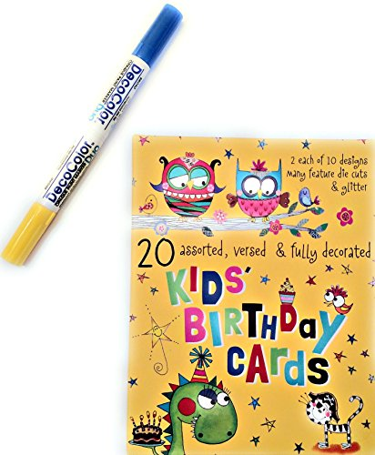 Happy Birthday Cards for Kids Box Set With Various Designs Included and Bonus DecoColor Pen Blue/Yellow for Kids Birthday Cards - Emporio Designs
