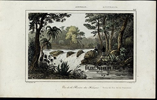 french-river-australia-waterfall-hunters-scarce-1863-old-hand-color-view-print