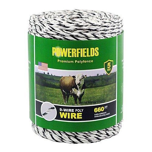 Powerfields EW936-660 9 Wire Polywire, 660-Feet, White/Black ()
