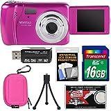 Vivitar ViviCam VXX14 Selfie Digital Camera (Pink) with 16GB Card + Case + Tripod + Reader + Kit