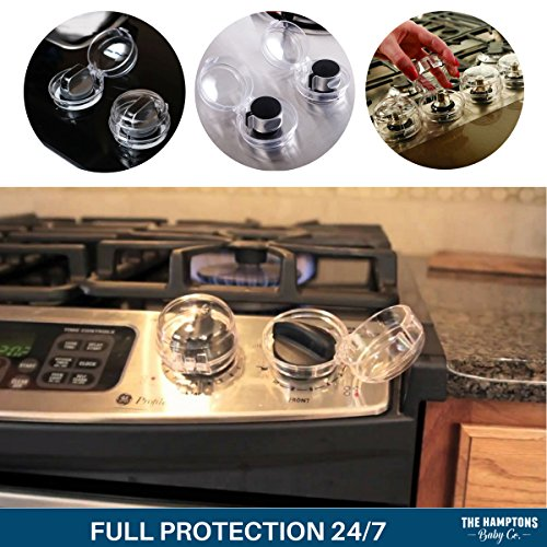 Clear Stove Knob Safety Covers for Gas Stove (5 Pack) Child Safety Guards for Fire Protection, Large Universal Design - Baby Proofing Your Oven Knob Cover & Child Proof Kitchen by The Hamptons Baby by The Hamptons Baby (Image #4)