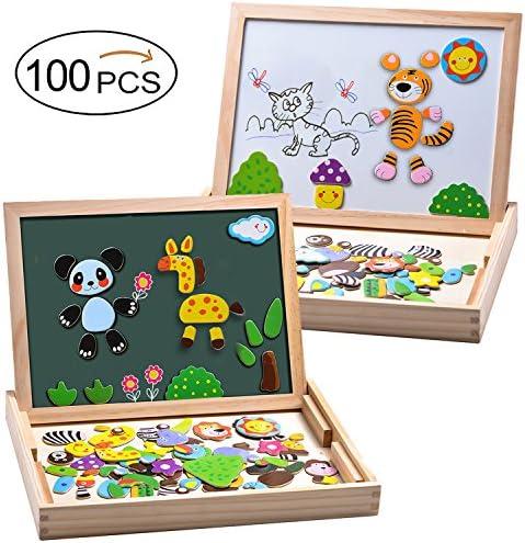 MOVEONSTEP 100 Piezas Puzzles de Madera Magnético, Rompecabezas Magnetico, Puzzle Magnetico, Pizarra Magnética Rompecabezas Madera Tablero de Dibujo de Doble Cara Juguete Educativo Niños de 3+(Panda): Amazon.es: Juguetes y juegos