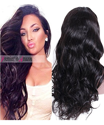 Human Lace Front Wig (Premier Wig Body Wave Lace Front Wigs-Glueless Brazilian Remy Human Hair Natural Deep Body Wave Lace Wigs with Baby Hair for Black Women (16 Inch natural color)