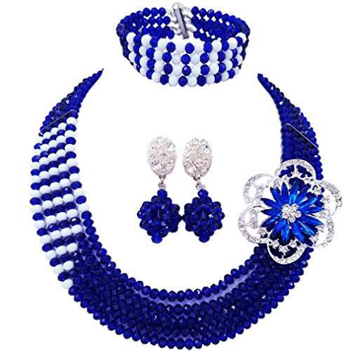 (laanc 5 Rows Mutilcolor Crystal African Beads Jewellery Sets,Nigeria Wedding Beads Jewelry Sets (Royal Blue and White))