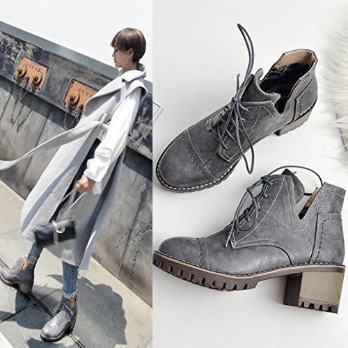 Casual à Moyen Ville Boots Lacets de Bloc Gris Talon OALEEN Chaussures Derbies Femme nT4zOz