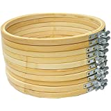 Proumhang 10 pcs Embroidery Hoop Bamboo Circle Cross Stitch Hoop Ring 6 inches(15CM)