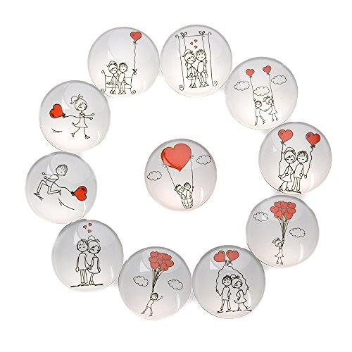 FF Elaine 11 Pack Love Style Crystal Glass Fridge Magnets - Refrigerator Magnets, Office Magnets, Calendar Magnets, Whiteboard Magnets - Love Refrigerator Magnet