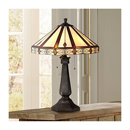 (Mission Table Lamp Bronze Octagonal Art Glass Shade for Living Room Family Bedroom Bedside Nightstand Office - Robert Louis Tiffany)
