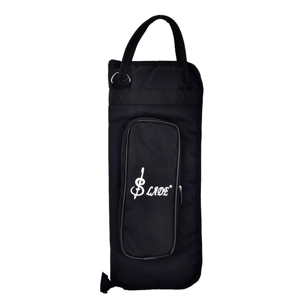 Buytra Drumstick Bag Case Drum Stick Holder Percusssion Drum Mallet Bag with External Pocket and Floor Tom Hooks, Black