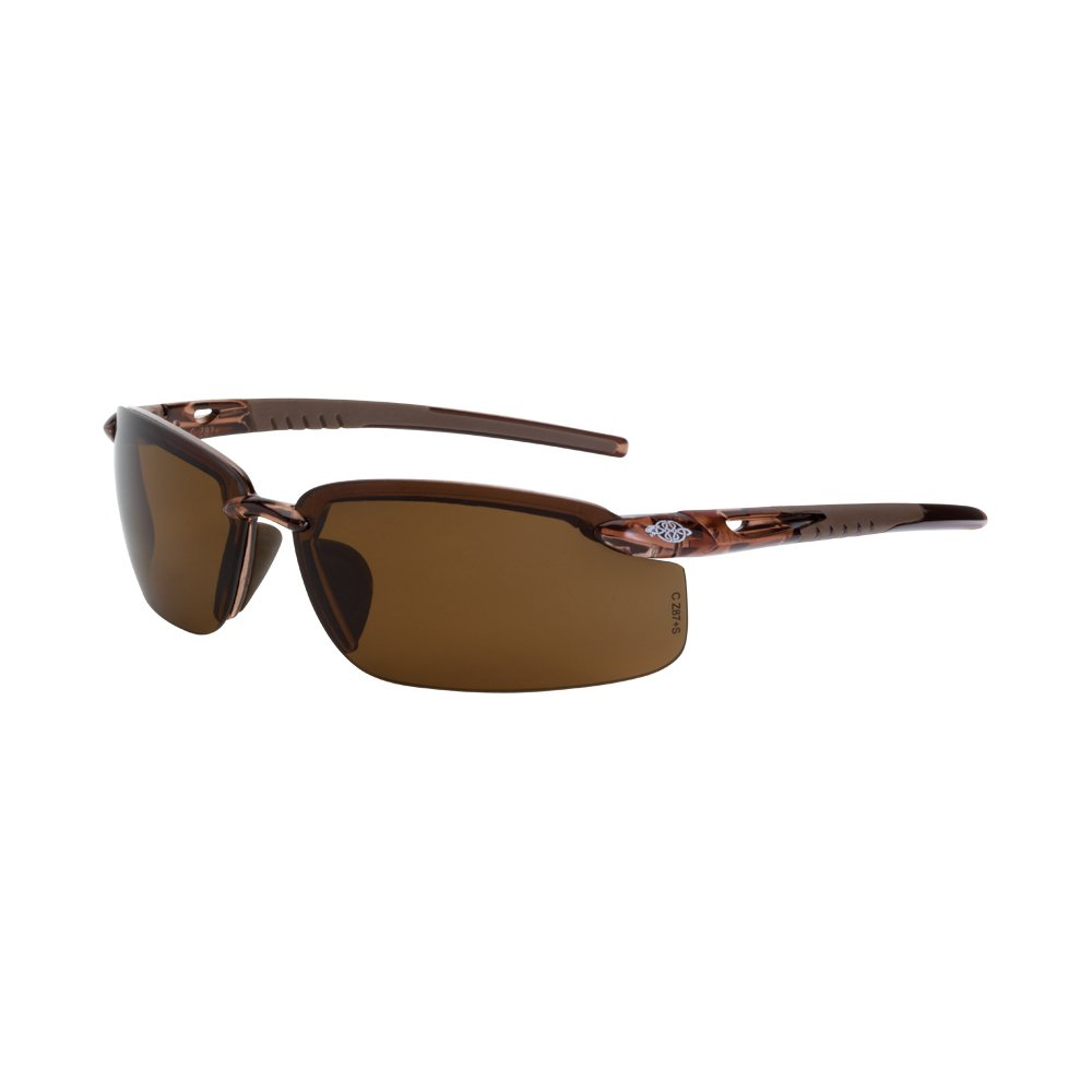 Crossfire Eyewear 291113 Es5 Polarized Safety Glasses with High Definition Brown Polarized Lens and Crystal Brown Frame
