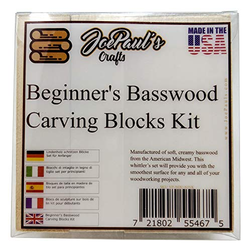Beginner's Blocks Kit Wood Carving Kids - Preferred Wood included - Made USA