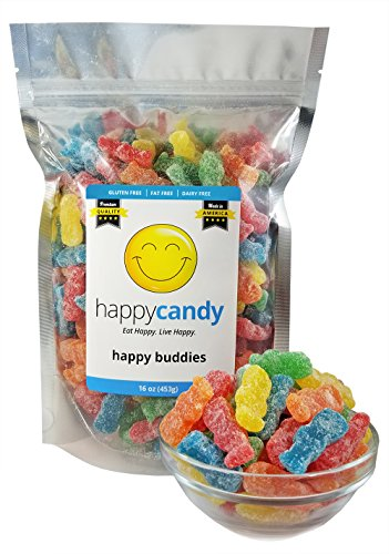 Happy Candy Happy Buddies - 5 Fruity Flavors (Lightly Sour) - Gluten Free, Fat Free, Dairy Free - Resealable Pouch (1 Pound)