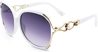 BLEVET Moda Mujere Polarizadas Gafas De Sol Oversized UV400 Protección BE008 (White Frame Grey Lens)