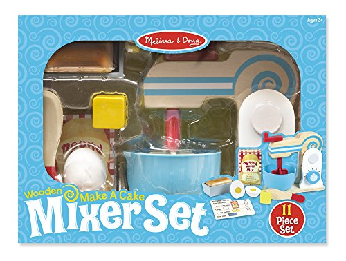 Melissa Doug Wooden Make A Cake Mixer Set 11 Pcs Play Food And Kitchen Accessories Toy