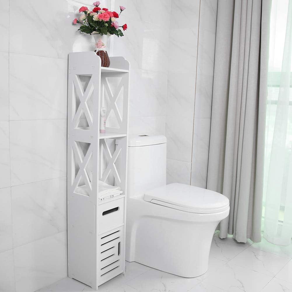Kitchen White 80 x 15.5 x 15 cm Greensen Bathroom Cabinet Floor Freestanding Narrow Cabinet Storage Cupboard Living Room Tall Waterproof Bathroom Cabinet Thin Toilet Vanity Cabinet for Washroom