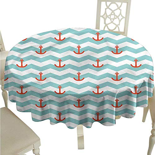 ScottDecor Outdoor Picnics Anchor,Pattern Anchor Stripe Wrinkle Free Tablecloths Round Tablecloth D 36