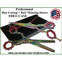 "Left Hand 6.5"" Professional Hair Cutting + Hair Thinning Shears Scissor Set - LEFTY"