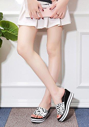 Haut Bas Été D'usure Femme Pente Chaussures Extérieure Sandales Talons Et Été Blanche Zcjb Épaisse Loisir Pantoufles 10xAp8nq