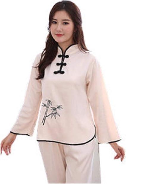 JYHTG Pijama De Bordado De Las Mujeres Conjunto De Estilo Chino Vintage Pijama De Botón Traje 2Pc Ropa De Dormir De Satén, L: Amazon.es: Ropa y accesorios