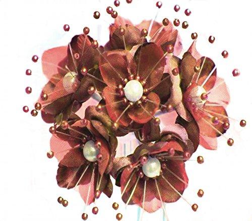 72 Wedding Bridal Pearl Satin Organza Flower Favor Pick - Mauve/dusty - Organza Rose Flower Wedding