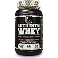 Authentic Muscle Building Chocolate Carmel Flavor Whey Protein Powder (2LB Tub)