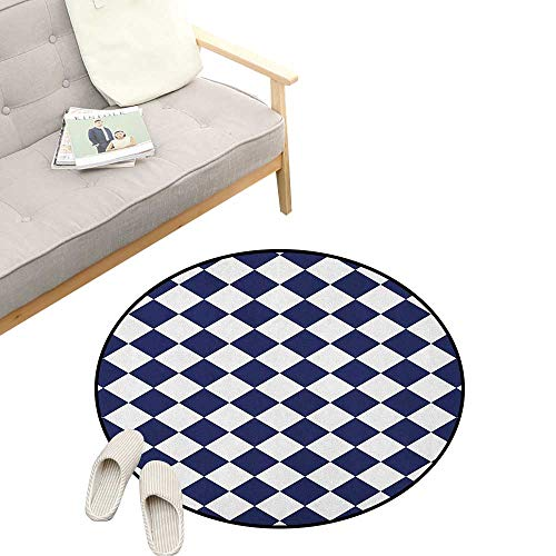 Blue Round Rug Living Room ,Classical Old Fashioned Checkered Pattern Geometric Diagonal Skewed Squares, Bedrooms Laundry Room Decor 23