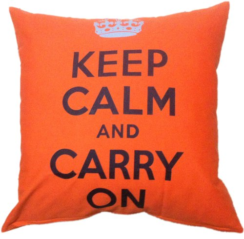 SALE 80% OFF Artiwa Retro Classic Keep Calm And Carry On Cotton Canvas Couch Bed Throw Decorative Pillow Cover Sham Orange 18