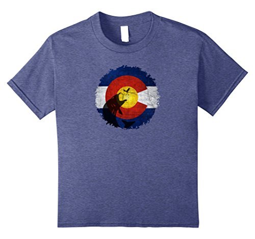 Panfish Classic Fish (unisex-child Colorado Flag T-Shirt with Fly Fishing Design 12 Heather Blue)