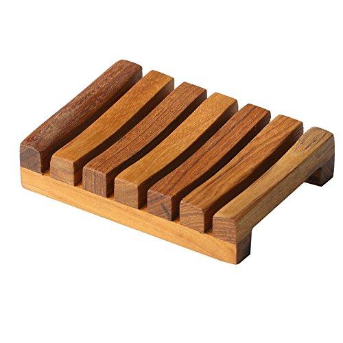 Bare Decor Sudsy Soap Dish, Genuine Teak Wood