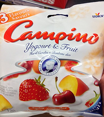Candy Cherry Strawberry (Campino Yogurt & Fruit Hard Candies - Strawberry, Cherry, Peach (120g / 4.2oz))