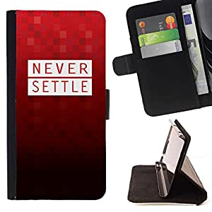 Momo Phone Case / Flip Funda de Cuero Case Cover - Nunca Settle Red Polígono patrón Motivación texto - Motorola Moto E ( 2nd Generation )