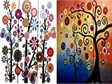 Bellaa 3 Panel Double Sided Painted Canvas Room Divider Screen