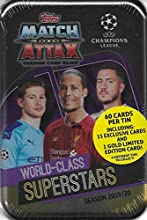Match Attax 2019 2020 Topps Champions League Soccer Sealed World Class Superstars Mega Collectors Tin with a Limited Edition Kylian Mbappe Gold Card and Exclusive Inserts Including Cristiano Ronaldo