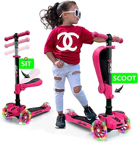 Hurtle 3 Wheeled Scooter for Kids – 2-in-1 Sit Stand Child Toddlers Toy Kick Scooters w Flip-Out Seat, Adjustable Height, Wide Deck, Flashing Wheel Lights, for Boys Girls 1 Year Old HURFS56