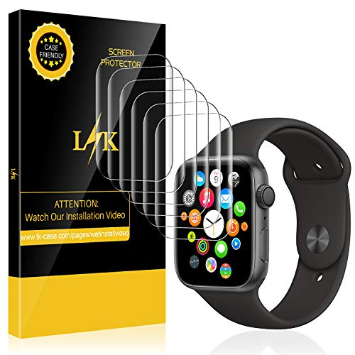 LK 6 Pack Screen Protector for Apple Watch 40mm / 38mm (Series 4/3/2/1 Compatible), Max Coverage Screen Protector [HD Clear Anti-Bubble Film] With Lifetime Replacement Warranty