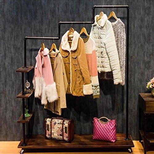 Warm Van Industrial Metal Pipe&Wood Rolling Clothing Rack,Free Standing Garment Racks,Vintage Closet Organizer Storage Shelf,Decor Pipeline Shelves 47.2''W x 60''H (Black)