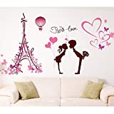 Heart Shapes Eiffel Tower Lovers Butterflies Wall Decal Home Sticker PVC Murals Vinyl Paper House Decoration Wallpaper Living Room Bedroom Art Picture DIY for Children Teen Senior Adult Nursery Baby