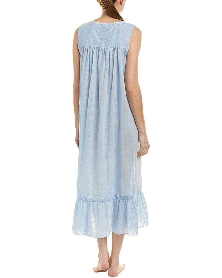 0392495d51 Eileen West Women s Cotton Rich Sheer Stripe Ballet Nightgown Solid Light  Delphinium Sheer Stripe Small at Amazon Women s Clothing store