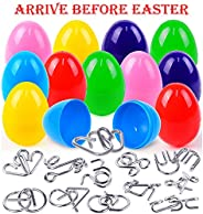 FLY2SKY Easter Eggs 12PCS Easter Basket Stuffers Wire Puzzles Easter Egg Fillers Gift