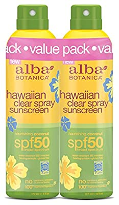 Alba Botanica Hawaiian SPF 50 Nourishing Coconut Clear Spray Sunscreen, 2 Count