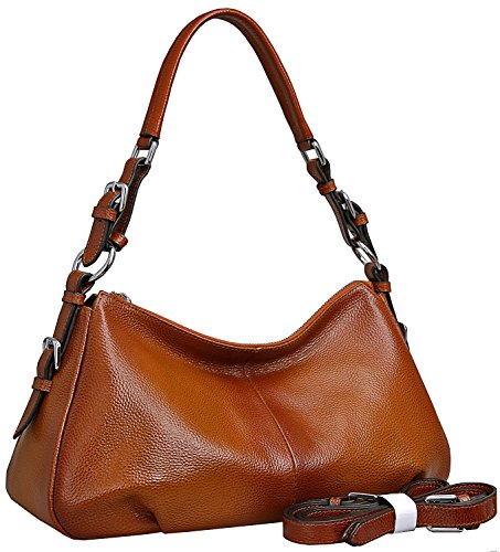 Women's Leather Shoulder Handbags HESHE Tote Bag Top Handle Bag Ladies Designer Purses Satchel Cross-body Handbag (Sorrel-NEW) Chocolate Leather Zip Hobo Bag