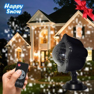 Christmas Holiday LED Snowfall & Snowflakes Projector Light - Waterproof, Weather Resistant, Safe for Outdoor and Indoors, Wireless Remote, Snow Decoration Lighting for Any Occassion& Party (white)