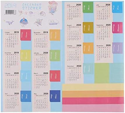 Tischkalender Kalendarien 115 * 210mm 1Set 2020 Kalender-Aufkleber Notebook Index Etikett Zeitplan Tagebuch Planer Scheduler Sticker DIY Dekor (Color : Blue)